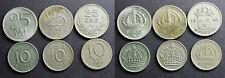 Suède, Lot de 3 x 10 ORE et 3 x 25 ORE argent
