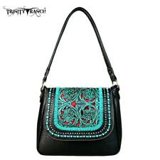 Trinity Ranch Black with Turquoise Design Western Style Hobo Purse