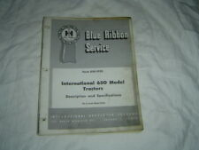 IH International farmall 560 description and specifications manual
