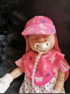 baby girls matching summer hat and bib set, reborn newborn 0-3 months