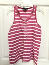 Ralph Lauren Pink White Striped Racer Back Knit Sparkly Tank Top Size L (12-14)