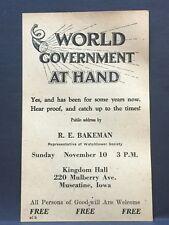 Watchtower/Jehovah HANDBILL1946 PUBLIC TALK #2 @ Muscatine, IA Kingdom Hall