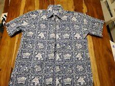 REYN SPOONER Vintage blue Floral flag bird Hawaiian Shirt large