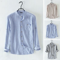 Retro Men's Holiday Shirts Long Sleeve Linen Collarless Grandad Striped Shirt UK