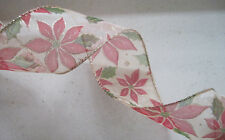 """5yd Christmas Poinsettia 2 1/2"""" Wired Ribbon Wreath Wedding Crafts Party"""