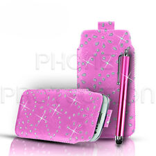 Calidad Diamante Bling Cuero tire Tab Funda Protectora Y Stylus Para Varios Teléfonos