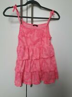 Girls Florence Pink Summer Frilly Strappy Top Age 12-13 Years