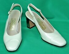 Vintage Salvatore Ferragamo Pearl White Leather Slingback Heels Shoes - 6 1/2 B
