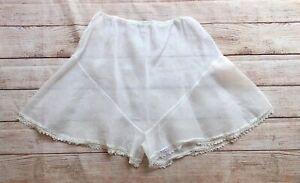 Vintage 30s Sheer White Organdy Crochet Lace Volup Plus Size Tap Pants 1X 2X