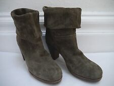 FIORENTINI + BAKER olive suede cuffed top heeled ankle boots Italian size 39