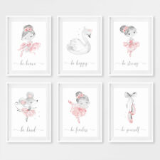 Ballet Princess Baby Girl Nursery Wall Art Prints Grey Childrens Pictures Gift