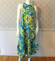 Vintage 1960s Turquoise, Green and Yellow Lord and Taylor Halter Neck Long Dress