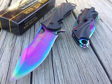 "8"" TAC FORCE RAINBOW SPRING ASSISTED FOLDING POCKET TACTICAL KNIFE Open Assist"