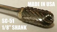 "SC51D Cylindrical Carbide Burr Bur Cutting Tool Die Grinder Bit for Dremel 1/8"""
