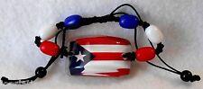 Puerto Rico Flag Fashion Leather Beaded Bracelet Adjustable Pull Cords!