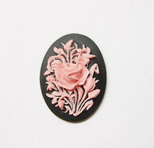 4 of 40x30 mm Pink over Black Victorian Art Deco Bunches of Wild Roses Cameos