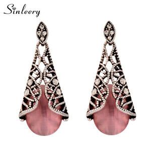 Antique Silver Plated Vintage Pink Opal Drop Earrings Dangle For Women Jewelry
