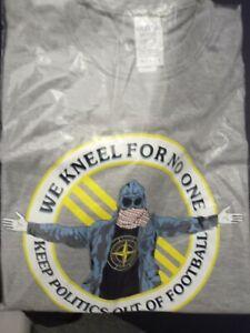 We kneel for no-one FOOTBALL HOOLIGAN ULTRAS TSHIRT screenprinted grey xl