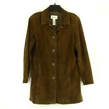 Cherokee Womens Suede Leather Coat 5 Button Front Brown Jacket Size L