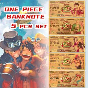 5 Pcs One Piece Anime Banknote Ruffy Ace 20-jähriges Jubiläum Gedenkset