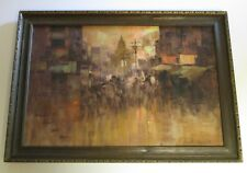 FINEST CESAR BUENAVENTURA PAINTING LARGE CITY SUNSET IMPRESSIONISM FILIPINO MOD