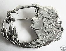 ART NOUVEAU STYLE SILVER LADY HEAD IRIS BROOCH / PIN NEW