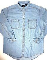 Levis Red Tag Jeans Mens Vintage Blue Denim Shirt Large Vtg 1990s Silver Buttons