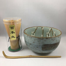 Japanese Ume Matcha Cup Bamboo Scoop 100 Whisk Tea Ceremony Set Made in Japan