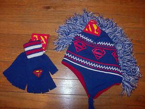 SUPERMAN LOGO Laplander Mohawk Fleece Lined & Fingerless Gloves ADULT ONE SIZE
