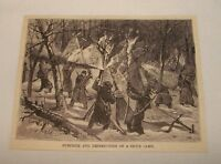 1885 magazine engraving ~ SURPRISE AND DESTRUCTION OF SIOUX CAMP