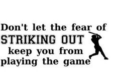 FEAR OF STRIKING OUT BASEBALL Boys Kid Sports Wall Decal Words Lettering Bedroom