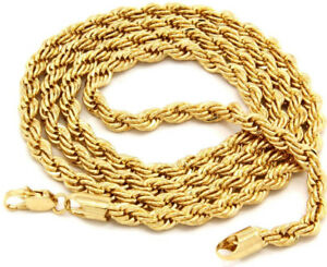 """14k Gold plated rope chain men's women's 24"""" inches necklace free shipping new"""