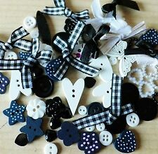 100 BLACK/WHITE themed Mega Mix of Buttons-Bows-embellishments-cardmaking-craft