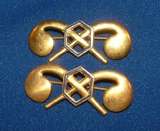 2 US WWII Officers Chemical Warfare Corps Lapel Insignia Gilt Pins WW2 Pin