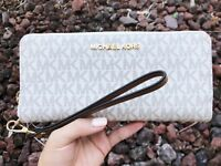 Michael Kors Jet Set Travel Continental Wallet Long Vanilla Signature MK