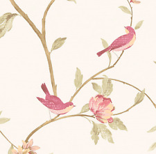 Wallpaper Sold By the Yard Shabby Chic Pink Nesting Birds Botanical Flower Tree