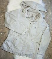 WEATHER TAMER Women's Vintage Raincoat Jacket Removable Hood Lined Gray Size S