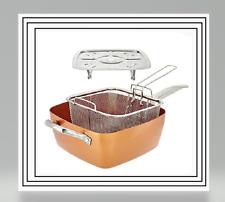 4PCS Non Stick Copper Deep Frying Cooking Pan Lid Chips Fries Basket Multi Eggs