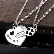Chic 2PCS Letter Best Friend Heart Key Silver Pendant Couple Friendship Necklace