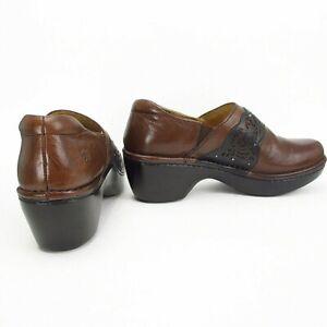 Ariat Tambour Clogs 8.5 Brown Black Leather Lasercut Studs Western Comfort