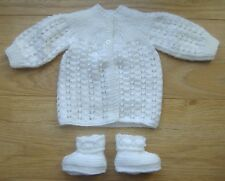 Handknitted White Baby coat & bootees - Newborn size