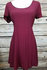 FOREVER 21 CRISS CROSS STRAPPY BURGUNDY DRESS SHORT SLEEVE *NWT*JRS M
