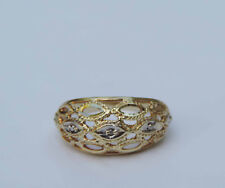 Ladies Rope Edged Filigree Dome Ring w/ Diamond Accent - 10k Yellow Gold