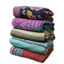 Vintage Wholesale Lot Kantha Quilt Reversible Throw Handmade Coverlets Bedspread
