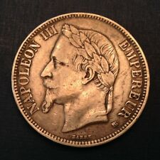 - France 1869 BB Napoleon III Silver Five 5 Francs -  Strasbourg Mint