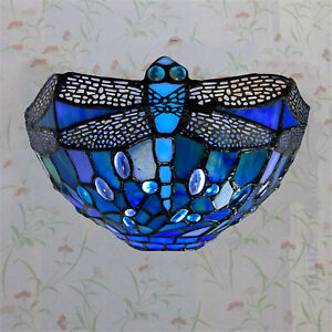 Antique Tiffany Style Blue Colorful Glass of Wall lamp Vintage Dragonfly Pattern