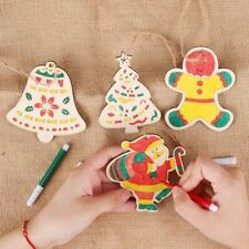 Christmas Tree Wooden Ornament Santa Miniature Craft DIY Pendant Home Decoration