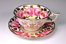 19th Century English Spode Style Hand Painted Cabbage Rose Cup and Saucer  (C)