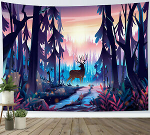 Psychedelic Forest Tree Fairy Deer Tapestry Wall Hanging for Living Room Bedroom