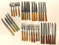 Vintage Butterscotch & Green Bakelite Catalin Handle Flatware (35Pc. Mixed Lot)